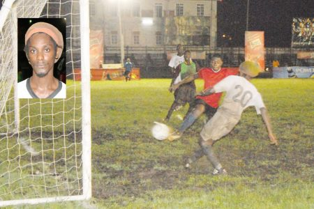 Michael Pedro (backing camera and inset) scoring his fourth goal against the University of Guyana Football Team Sunday night at the Georgetown Cricket Club ground. (Orlando Charles photo)  See story on page 26