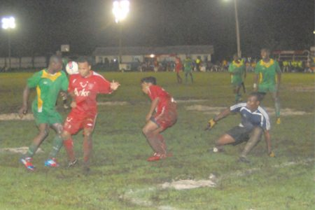 Action in the Guyana Defence Force/Black Pearl match at the Tucville Ground on Tuesday. (Orlando Charles photo)