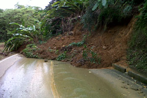 One of the blocked roads (Trinidad Express photo)