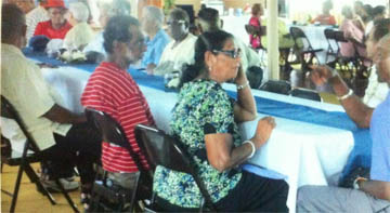 Some of the older folk in deep conversation at the luncheon