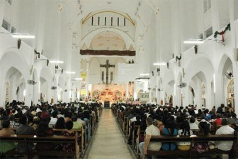 A packed church for midnight mass at the Cathedral of the Immaculate Conception, Brickdam on December 31, 2012</p><br /><p>