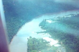 Pollution trademark: Tailings in the Potaro River