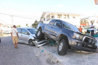 The two vehicles after the collision