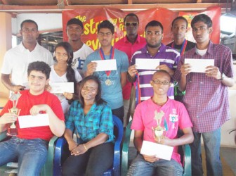 Prize winners of the Guyana Chess Federation Topco Juices sponsored rapid play tournament.