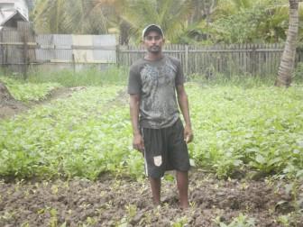 Rakesh in his callalu farm