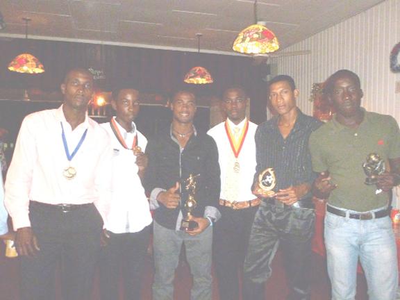 Fruta Conquerors prize winners from left, Delon Williams, kareem Knights, Vurlon Mills, Adrian Adonis,  Trevon Lythcott and Joshua Browne.