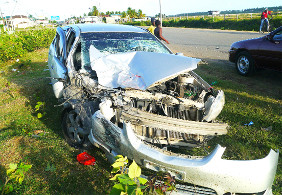 The Toyota Vios after the collision