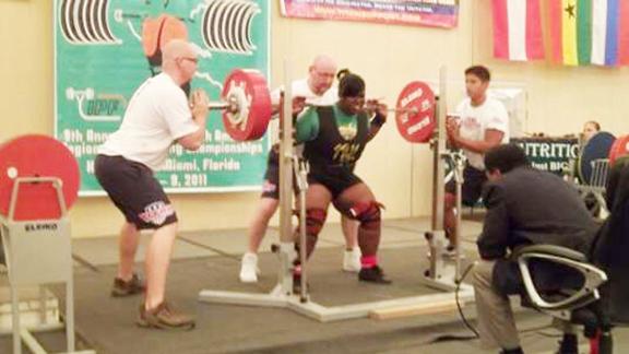 Dawn Barker squatting during NAPF Power lifting championships