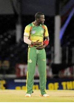 Windward Islands captain Darren Sammy celebrates another wicket. (Photo courtesy WICB)