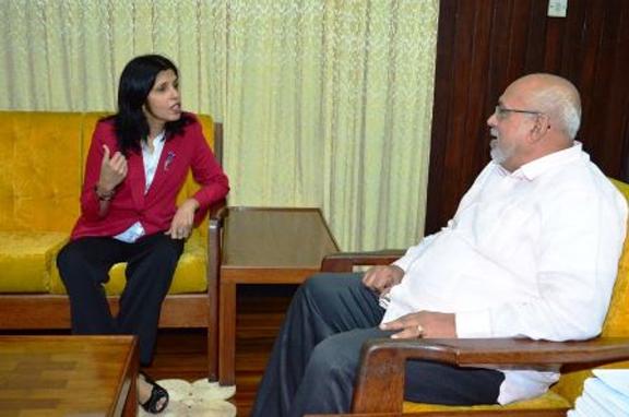 Outgoing Surinamese Ambassador to Guyana Dr. Manorma Soeknandan in talks with President Donald Ramotar.