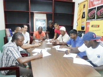 Boxers for the Guyana Fight Night ProAm card later this month ink their signatures to their respective contracts on Friday at the contract signing at the Abdool and Abdool building on Avenue of the Republic.