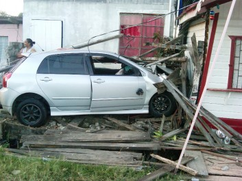 Car in shop: The car parked in the shop off the Industry Railway Line road yesterday.