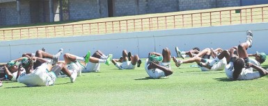 The Guyana T20 team doing  fitness drills yesterday at Gros Islet, St Lucia. (Photo courtesy of WICB media)