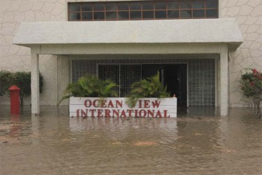 A swamped Ocean View International Hotel yesterday (Photo by Arian Browne)