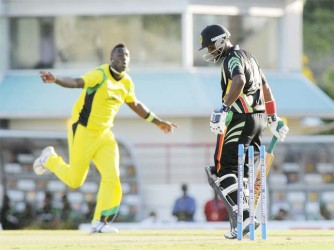 Narsingh Deonarine is bowled by Andre Russell, one of four wickets that the Jamaican fast bowler took yesterday. (Photo courtesy of West Indies media)