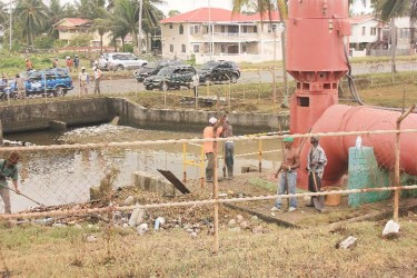 Back in business: The Liliendaal pump station which was unable to function on Monday during the high tide as garbage had clogged its intake canal. Yesterday, all the garbage had been removed.