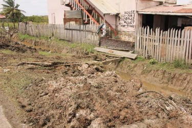 A resident of Anna Catherina's bridge was broken after a drain was dug to help reduce the flooding. (Photo by Arian Browne)
