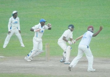 Demerara players celebrate the fall of President's XI batsman Chanderpaul Hemraj who was lbw to Steven Latcha (not in picture) without scoring yesterday. (Orlando Charles photo)