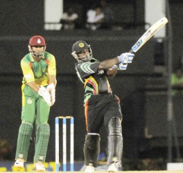 Guyana's Derwin Christian pulls Garey mathurin for one of his five fours in his top score of 39 which enabled Guyana to defeat the Windwards by four wickets last night. (Photo courtesy of WICB media)
