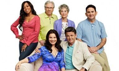 "Fran Drescher (seated, left) and the cast of ""Happily Divorced"""
