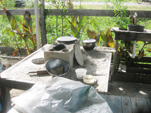 Roti dough left near the woman's fireside indicates that she was interrupted while cooking