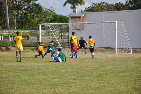 Action between Tucville Secondary in green and St. John Secondary