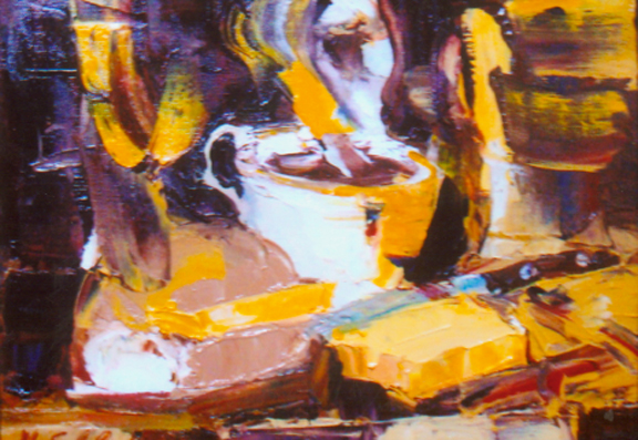 Oil painting, Coffee with tennis roll