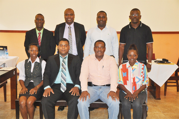 The newly elected GFA administration with GFF acting president Franklyn Wilson.