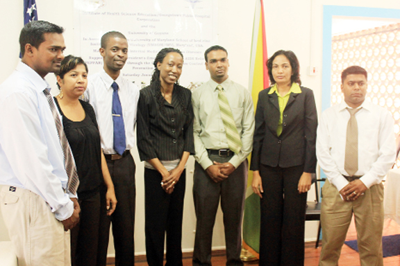 The first batch of residents: From left: Dr Haimchand Barran Dr Kamela Bemaul-Sukhu, Dr Terrence Haynes, Dr Grace Waldron-White, Dr Ramdeo Jainarine, Dr Kumarie Jaipersaud and Dr Kishore Ramdass (Photo by Arian Browne)
