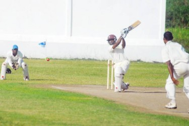 Rajendra Chandrika plays through the off-side during his unbeaten innings of 46 yesterday at the Everest Cricket Club ground. (Orlando Charles photo)