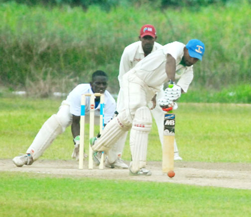 Sewnarine Chattergoon topscored for Berbice with 89 but the team is still in danger of suffering an outright defeat to Demerara when play resumes on today's final day. (Orlando Charles photo)