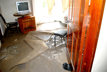 One of the devastated rooms on the ground floor of the Ocean View Hotel