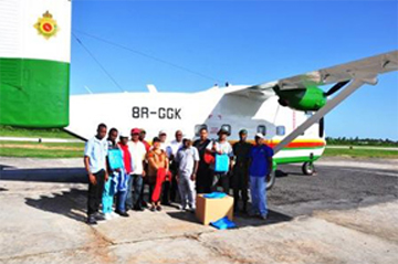 Members of the response team just before boarding the Guyana Defence Force Skyvan for  Kamarang. (GINA photo)