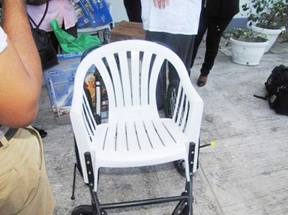 One of the wheelchairs handed over to the Periwinkle Cancer Club (GINA photo)