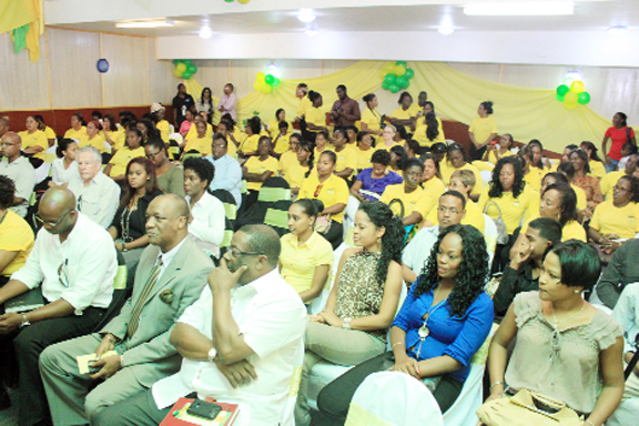 A section  of large audience at the Guyana Women Miners Organisation's first anniversary celebration  at the Sea Breeze Hotel yesterday  (Photo by Arian Browne)