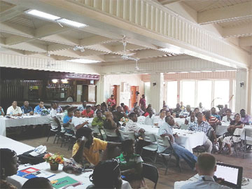 A section of the gathering at yesterday's bauxite sector forum at Watooka House, in Linden.