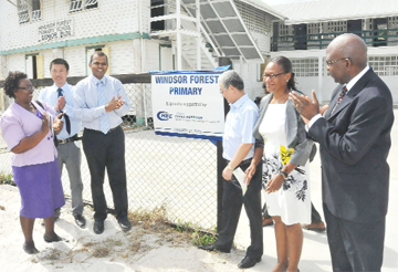 (From left) Regional Education Officer, Marilyn Jones-O'Donoghue; Andrew Zhu of CHEC; Acting Minister of Education, Dr Frank Anthony; Chinese Ambassador to Guyana, Zhang Limin; Principal of Windsor Forest Primary, Ann Barnes and Public Relations Consultant Alex Graham inaugurating the school works yesterday. (CHEC photo)