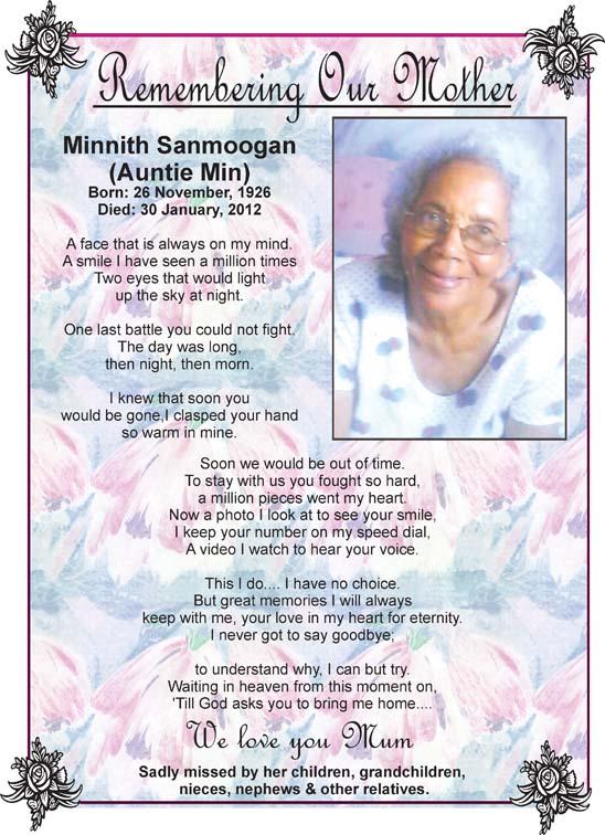 Minnith Sanmoogan (Auntie Min)