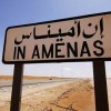 A road sign indicating In Amenas, about 100 km (60 miles) from the Algerian and Libyan border, is seen in this undated picture provided by Norwegian oil company Statoil January 16, 2013. Islamist militants attacked a gas production field in southern Algeria January 16, 2013, kidnapping at least nine foreigners and killing two people including a French national during a dawn raid, local and company officials said. The In Amenas gas field is operated by a joint venture including BP, Norwegian oil firm Statoil and Algerian state company Sonatrach. REUTERS/Kjetil Alsvik / Statoil/Handout