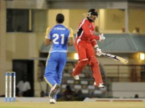 Trinidad and Tobago captain Denesh Ramdin celebrates his side's win over Barbados. (Photo courtesy WICB)