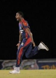 Derone Davis celebrates his hat-trick on Friday night. (Photo courtesy WICB)