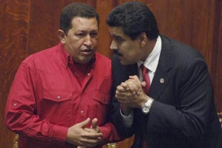 Nicolas Maduro (right) and Hugo Chavez