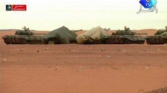Tanks are seen in the area of a gas plant where Algerian forces had launched an operation to free foreign hostages in Tigantourine January 17, 2013 in this still image taken from video footage. REUTERS/Enahar TV via Reuters TV