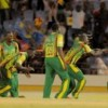 Windward Islands celebrate victory over Barbados on Thursday night. (Photo courtesy WICB)