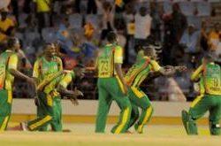 Windward Islands celebrate victory over Barbados on Thursday night. (Photo courtesy WICB)