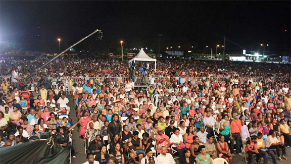 A section of the crowd at the National Stadium for CeCe Winans' performance