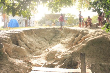 This Arian Browne's photograph shows how the land has eroded at the water front of the GuySuCo Torani Canal compound.