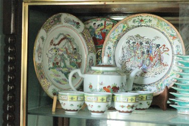 Some of the Chinese crockery brought from China by Margery Kirkpatrick's great grandmother Loo Shee in 1861.