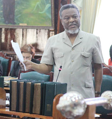 Prime Minister Sam Hinds speaking in Parliament yesterday. (Arian Browne photo)