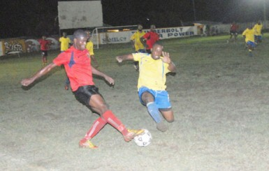 Action between Alpha United and Pele.